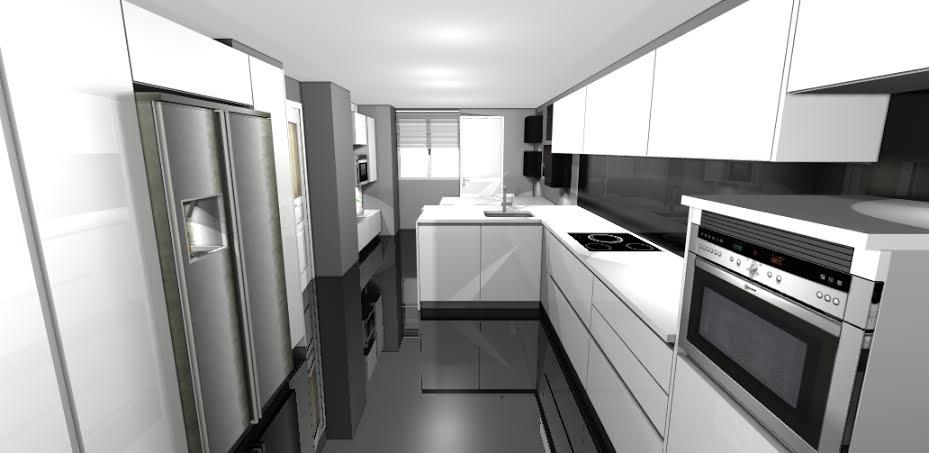 Muebles suspendidos para cocinas peque as for Cocinas modernas pequenas alargadas